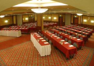 chevron style conference room setup